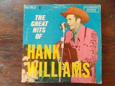 """Great Hits of Hank William double LP album 33 RPM 12"""" PLUs 3 Hank William 9 3/4"""