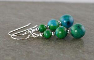 Green & Blue Azurite Chrysocolla Gemstone & Sterling Silver Drop Earrings