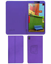"""ACM-EXECUTIVE LEATHER FLIP CASE for LENOVO PHAB 6.98"""" TAB COVER STAND - PURPLE"""