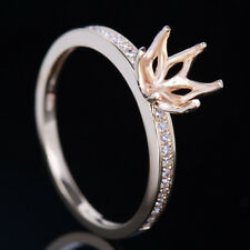 6-6.5mm Round Solid 10k Yellow Gold Diamonds Wedding Semi Mount Ring Engagement