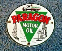 VINTAGE PARAGON GASOLINE PORCELAIN GAS OIL SERVICE STATION PUMP PLATE SIGN