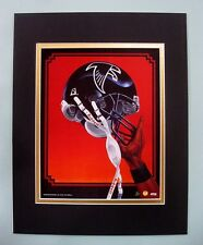 Atlanta Falcons 1995 Matted Football Helmet Lithograph Print by Kelly Russell