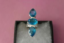 Topaz Gems Size L Gr.9.4 In Box Beautiful 925 Silver Rings With Faceted Blue