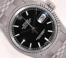 Rolex Datejust 36mm Stainless Steel 18k White Gold Fluted Bezel Black Stick Dial