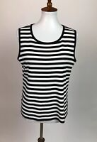 Exclusively Misook Women's Size L Knit Black Striped Tank Top Sleeveless
