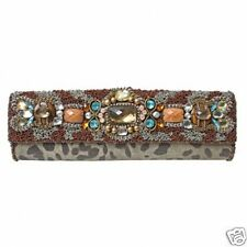 Mary Frances Brown Jewel Embellished Leopard Design Clutch Handbag Purse NWT