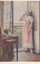 CARTE POSTALE FANTAISIE FEMME ILLUSTRATEUR H.PERRAULT LE BAISER SALON DE PARIS