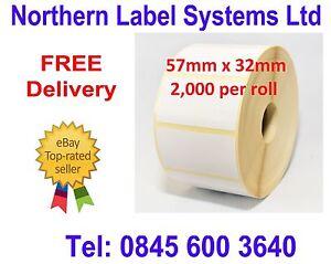 57mm x 32mm White Labels for Zebra, Citizen, Toshiba etc