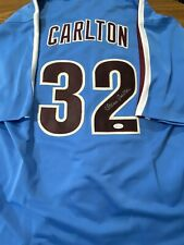 Steve Carlton Signed Away Phillies Blue Jersey Autographed JSA Cert