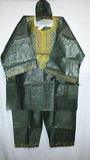 Mens Clothing 3Pcs Dashiki Pant Suit boho African Brocade Army Green Free Size