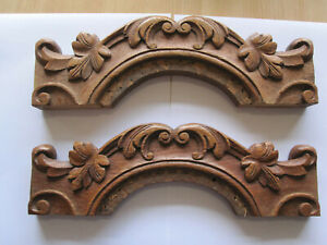 pair off antiques french wood carved decorative elements