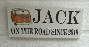 Personalized camper van on the road fun hanging wooden sign personalised plaque
