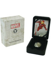 Iron Man Mask $5 Fiji 2oz Silver High Relief Antiqued Coin 2019 Marvel Comics