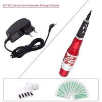 Permanent Makeup Maschine Pen Set Rotary Tattoo Gun Tipps Nadeln Netzteil EU Red