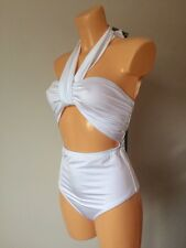 ASOS Wrap Neck Bandeau Cut Out Swimsuit white shiny UK 14 EU 42 US 10 (L66/12)