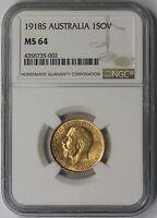 1918 S Australia Gold 1 Sovereign 1SOV MS 64 NGC
