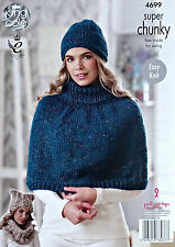 KNITTING PATTERN Ladies Easy Knit Polo Neck Cape Snood & Hats Super Chunky 4699