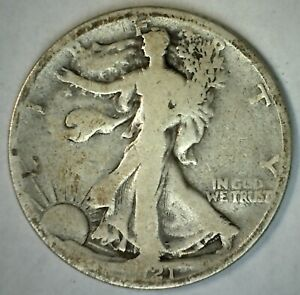 1921 S Walking Liberty Silver Half Dollar 50c US Type Silver Coin Almost Good