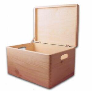 Aufbewahrungsbox Holzkiste mit Deckel und Grifflöchern Kiefer unbehandelt, Gr. 3