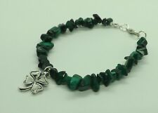 Sterling Silver Malachite Gemstone Chips Beads Lucky Clover Shamrock Bracelet