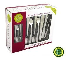 Disposable Cutlery Set 200 Strong Plastic Silver Forks Knives Spoons All Parties