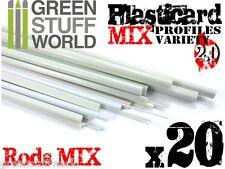 20x Perfiles BARRA Plasticard - COMBO-MIX - Tiras Plastico PVC ABS Poliestireno