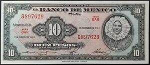 10 pesos Mexico pick 58.k 17.2.1965 Tehuana UNC