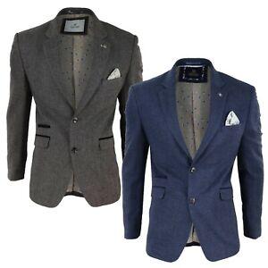 Men's Cavani Herringbone Tweed Wool Blazer Slim Fit Smart Formal Dinner Jacket