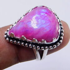 Rainbow Moonstone 925 Sterling Silver Plated Handmade Jewellery Ring UK Size-O