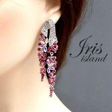 Rhodium Plated Pink Crystal Rhinestone Wedding Drop Dangle Earrings 03910