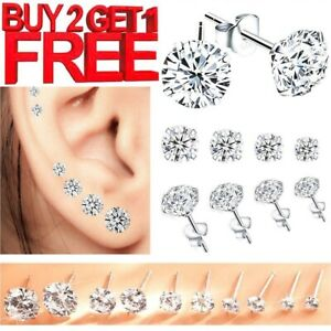 New Sterling Silver Stud Earrings Cubic Zirconia Ball Small Set Pack + 925 Backs