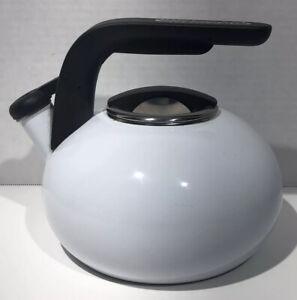 KITCHEN AID 2 QT Whistling Tea Kettle Porcelain Coffee Pot White TQQ09