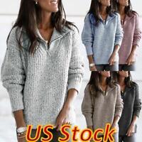 US Women Winter Zipper V Neck Pullover Long Sleeve Sweater Top Blouse Plus Size