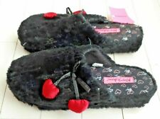 BETSEY JOHNSON Sequin BLACK Slippers SOFT Bow Red Hearts XL 11/12