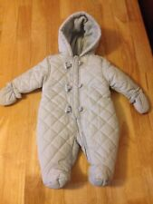 Winter Blue Mothercare Snowsuit Pramsuit with Lining - 0-3 months + free hat
