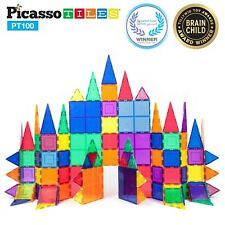 PicassoTiles PT100 100 Piece 3D Color Magnetic Magnet Building Blocks Tiles Set