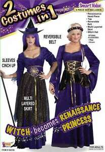 Renaissance Lady & Witch 2 In One 5 Piece Purple & Gold Adult Costume Dress