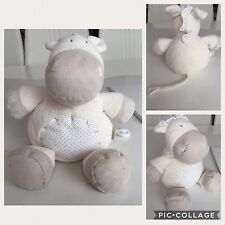 MAMAS & PAPAS Boys Girls Cream Hippo Plush Toy Comforter Very Soft Hug  11'' VGC