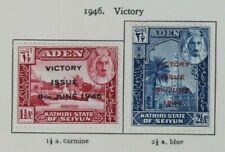 Aden KGVI Kathiri State of Seiyun 1946 Victory SG12-13 Mounted Mint