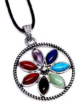 7 Seven Chakra Flower Pendant Gemstones Crystal Reiki Charged Corded Necklace