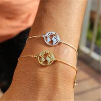 World Map Bangles Bracelet Jewelry Globe Travel Jewelry Chain Link Earth Gift S