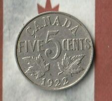 1922 King George Canada Nickel (5 Cents)- Decent example~