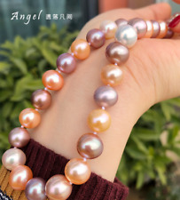 gorgeous 12-13mm south sea round multicolor pearl necklace 18inch 925s