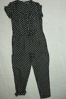 JIGSAW black white polka dot 100% silk pants jumpsuit romper playsuit size 8 EUC