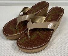 Sam Edelman Flip Flop 9.5 Beige Tan Romy Platform Wedge Sandal Thong