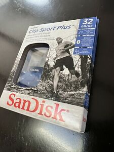 SanDisk 32GB Clip Sport Plus MP3 Player Blue BRAND NEW IN ORIGINAL BOX