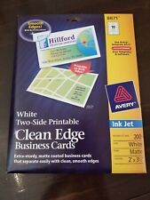 Avery 8871 Clean Edge Business Cards White Two Sided Ink Jet