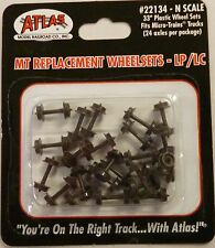 "Atlas N Scale MT Low Profile 33"" Plastic Wheel Sets LP/LC 24 Axles Pack 22134"