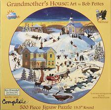 """GRANDMOTHER'S HOUSE: ART BY BOB PETTES"" SUNSOUT 500 PIECE ROUND CIRCLE PUZZLE"