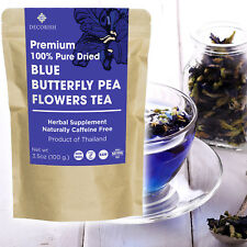 PREMIUM Blue Dried Butterfly Pea Flower Tea Organic 100g Pure No Caffeine Thai